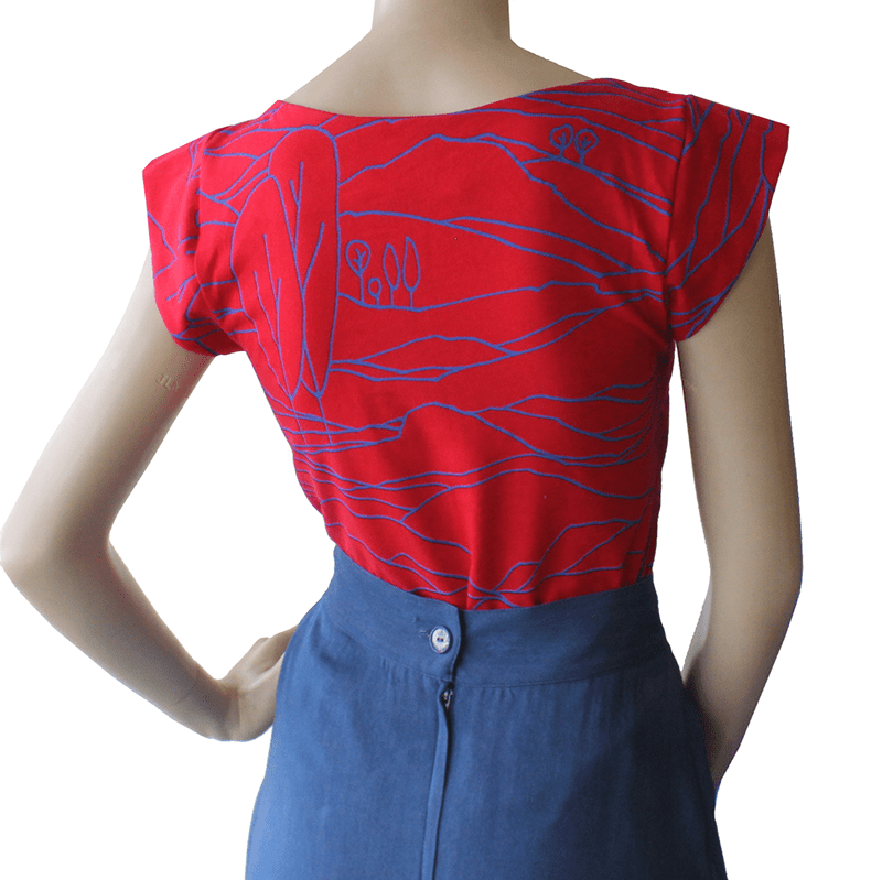 Dragstar cotton Captain Tee - Red/Blue Linescape ethical womens fashion mad ein Australia
