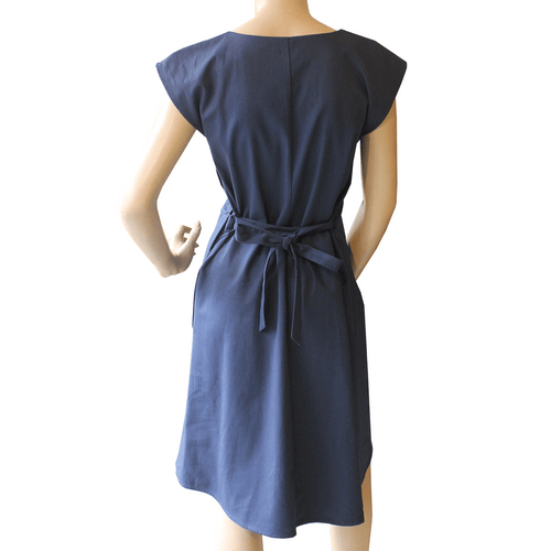 Saskia Dress - Navy with Japanese dot print ethical Womens Fashion mad ein Sydney