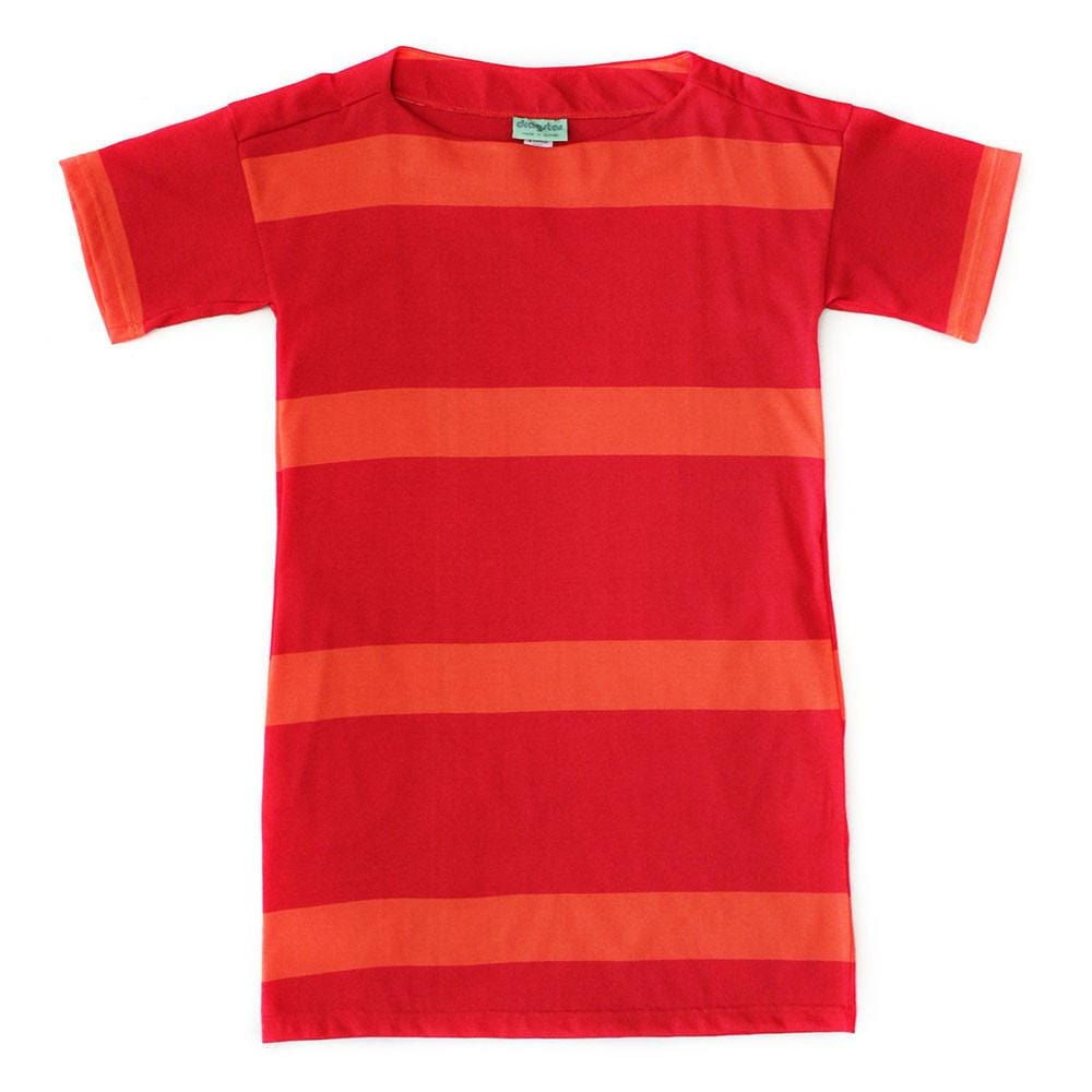 Boat Neck Dress Broad Stripe - Red / Orange