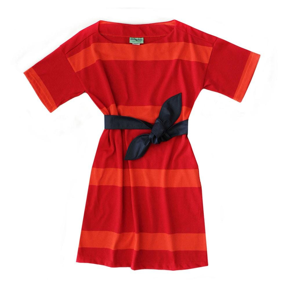 Boat Neck Dress Broad Stripe - Red / Orange Dragstar Ethical womens fashion made in Sydney