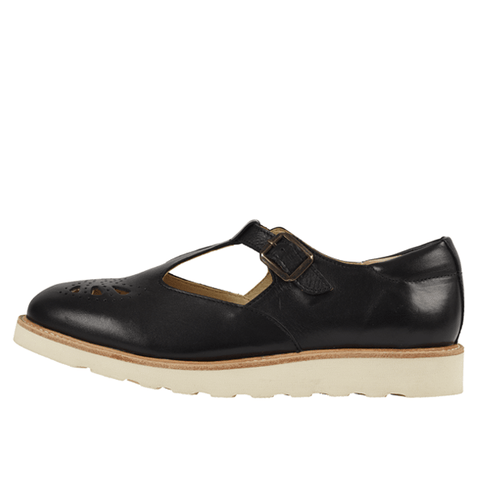 Black Rosie t-bar shoe By Young Soles UK