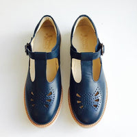 Navy Rosie t-bar shoe By Young Soles UK