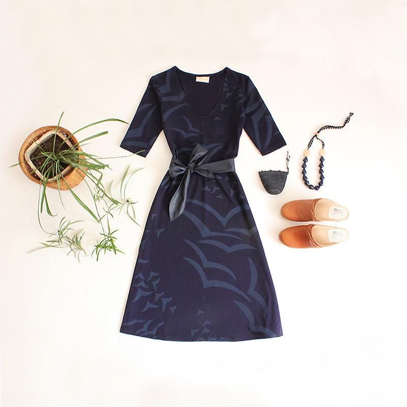 Dragstar Seagull print jersey Hot Dress ethical womens fashion handscreen printed slow fashion ethical Womens Fashion made in sydney