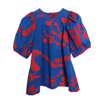 Dragstar Trapeze Top - Red Botanical on Blue Australian made Ethical Fashion slow fashion Newtown