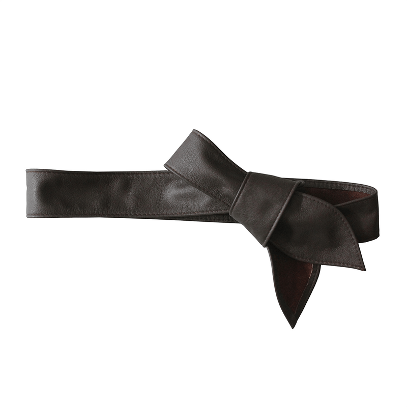 Leather Tie Belt - Brown