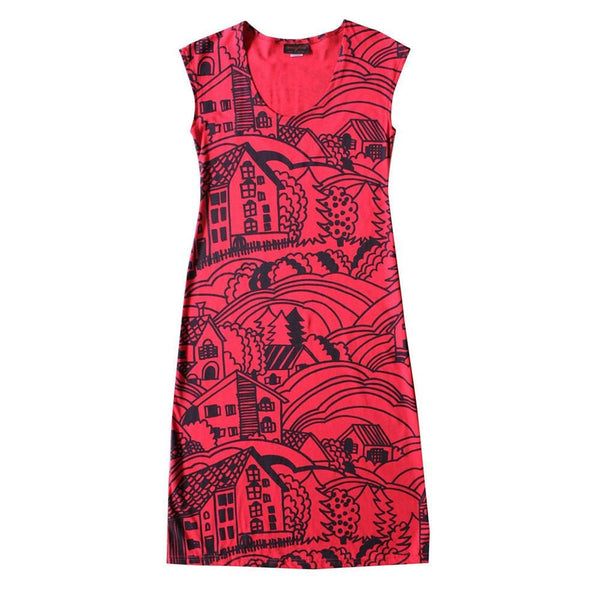 All Too Easy Dress - Village Print in Red
