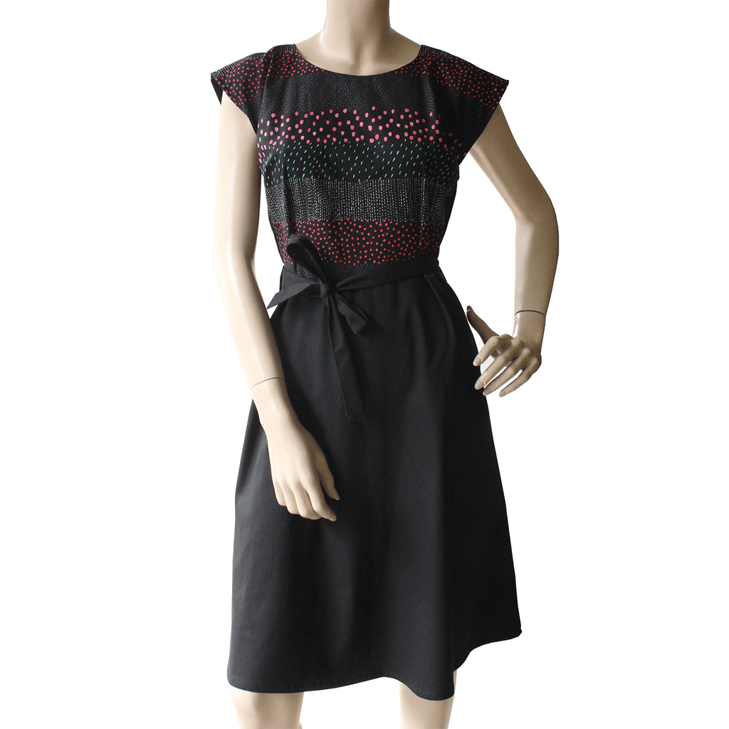 Saskia Dress - Black with Japanese dot print Ethical Womens fashion made in Sydney