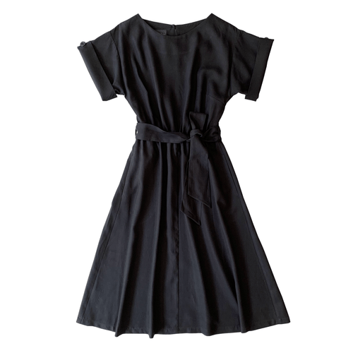 Dragstar bateau dress with sleeve - black tencel Ethical womens fashion made in Sydney Australia