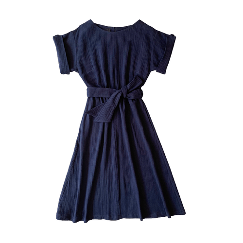 Dragstar bateau dress with sleeve - blue textured cotton Ethical womens fashion made in Sydney Australia