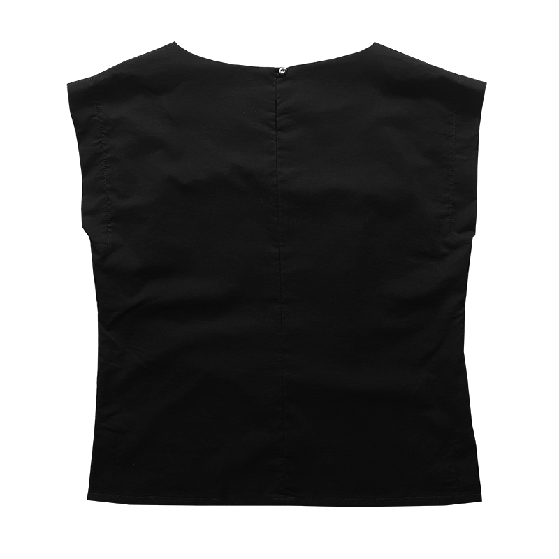 Bateau Top - Black Cotton Voile