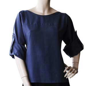 Dragstar Rothko Top - Navy Tencel Ethical womens fashion  made in Sydney Australia
