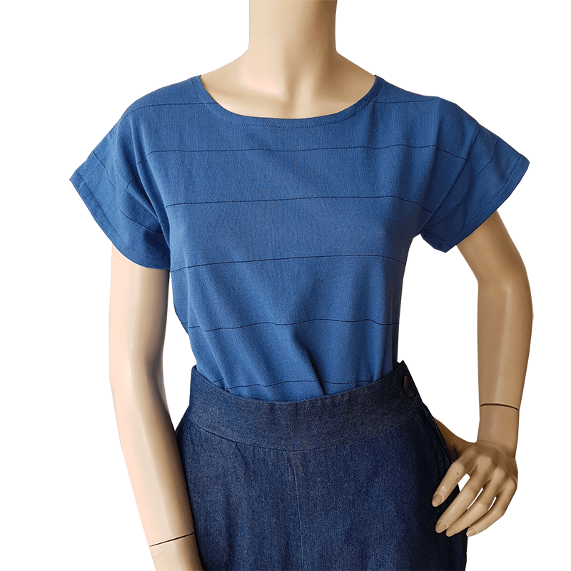 Dragstar Striped Tee - Prussian Blue