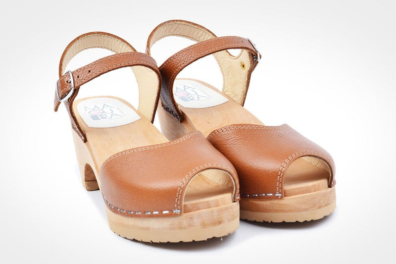 Bologna Clogs - Tan leather Hand made Swedish clogs at Dragstar Clothing Store in Newtown In Sydneys inner west