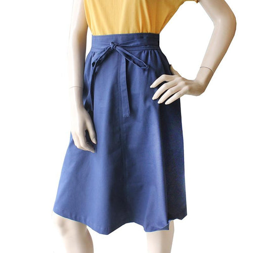 Dragstar Double Wrap Skirt Navy Cotton drill Ethical womens Fashion Mde in Sydney