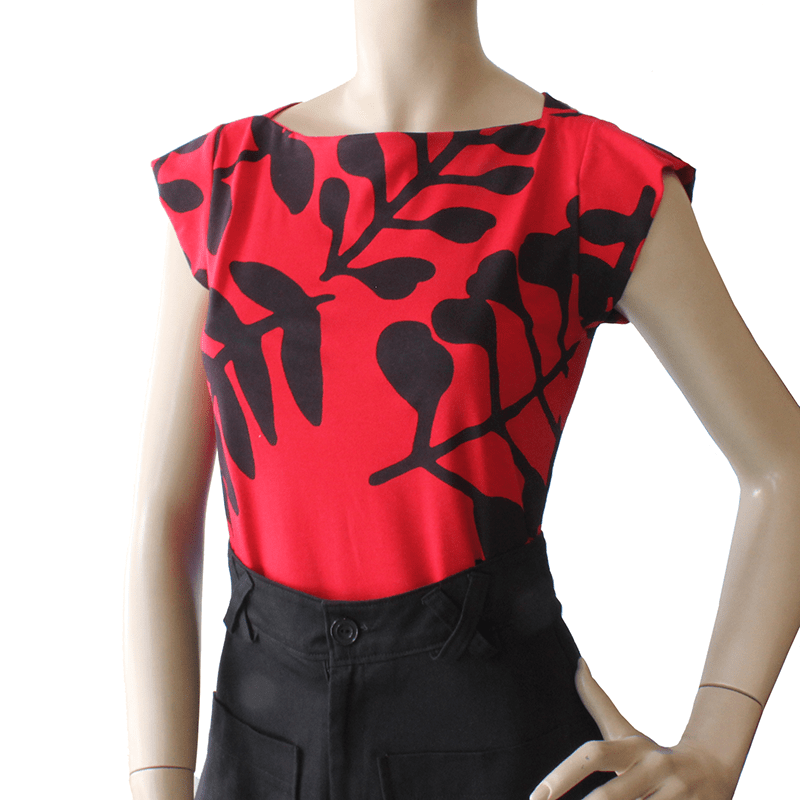 Dragstar Captain Tee - Red/Black Branch Dragstar Ethical womens fashion made in Sydney