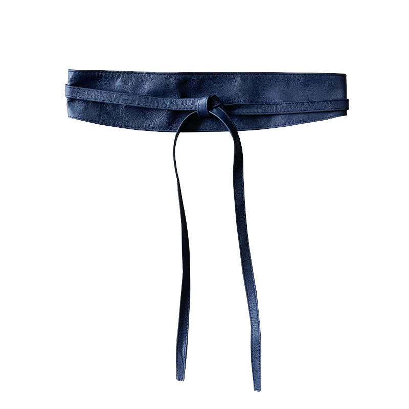 Leather Double Tie Belt - Navy