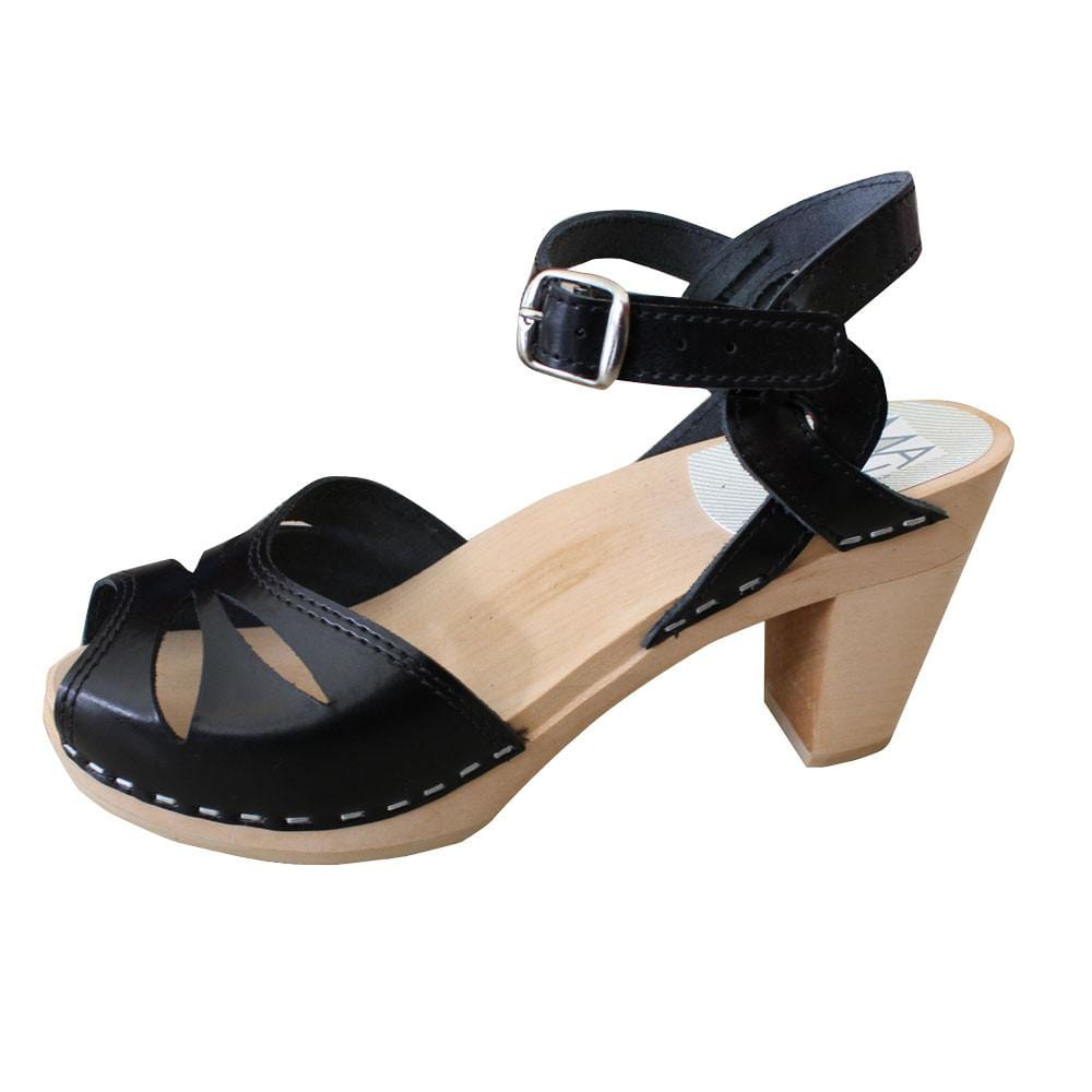 High Heel 'Rio' Clogs - Black