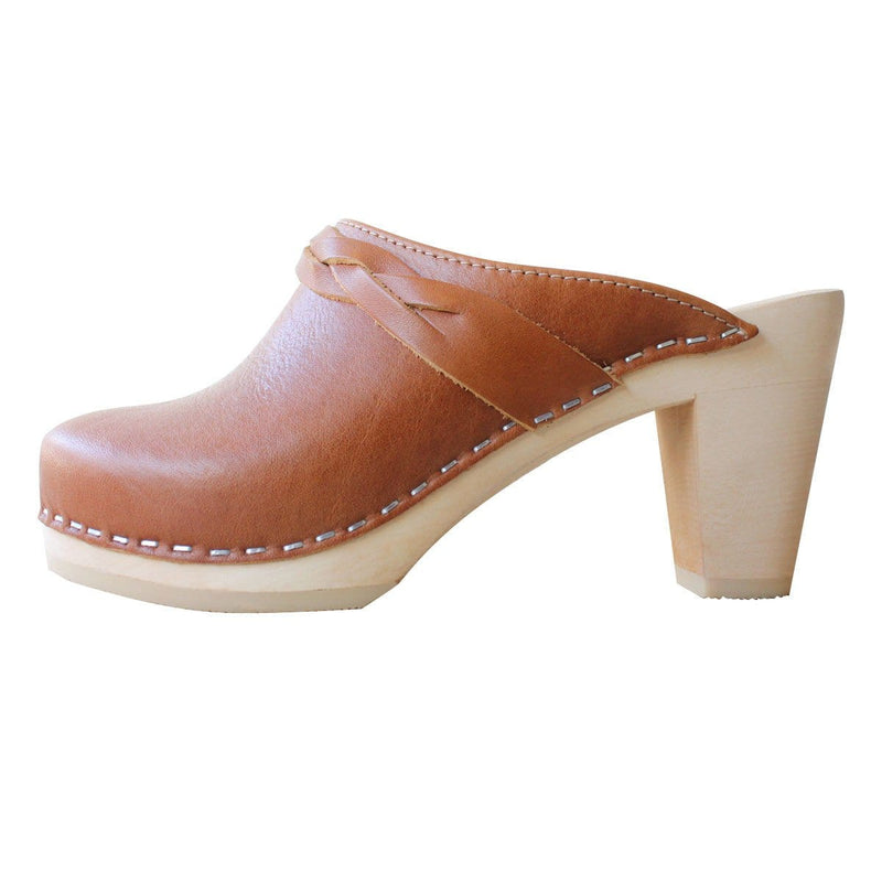 Stockholm Clog With Braid - Tan leather High Heal hand made clogs