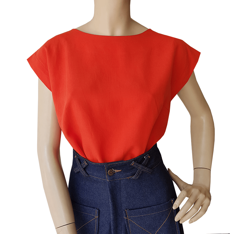 Bateau Top - Orange Tencel Ethical womens fashion made in Sydney Australia