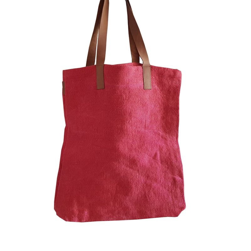 dragstar clothing sydney jute tote leather handle cherry