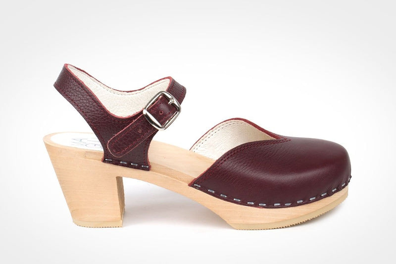 Florence Clogs - Bordeaux Leather Hand Made Swedish clogs at Dragstar Womens Wear in Newtown Sydney