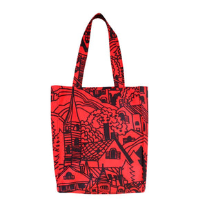 Dragstar Handprinted Village Tote Bag ethical Womens Fashion Slow fashion Made in Sydney Australia