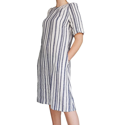 Dragstar Rolled Cuff Dress - striped linen Ethical womens fashion made in Sydney