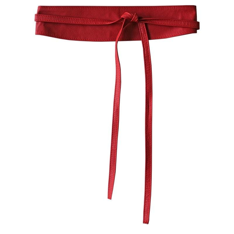 Dragstar Leather Double Tie Belt - Red