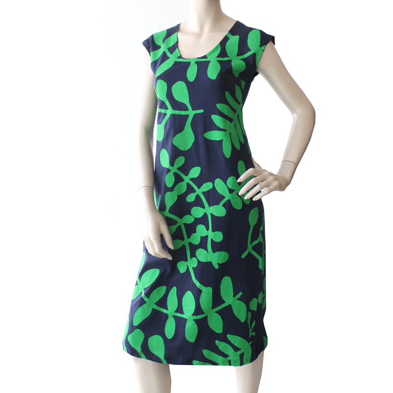All Too Easy Dress - Green/Navy Branch Ethical Womens Fashion Made in Sydney Australia By Dragstar Clothing Newtown