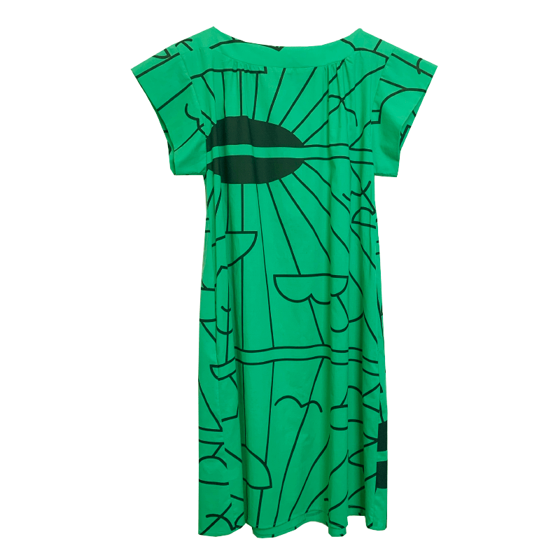 Dragstar Fancy dress - emerald green sunrise print cotton Ethical womens fashion made in Sydney