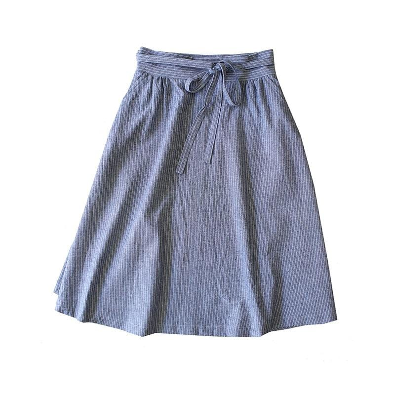 Double Wrap Skirt - Stripe Cotton