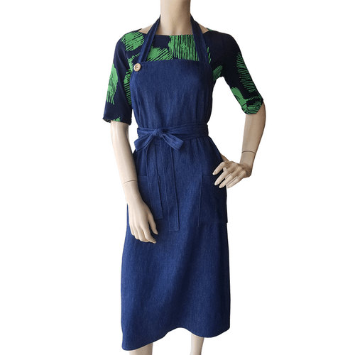 Apron Dress - Blue Hemp