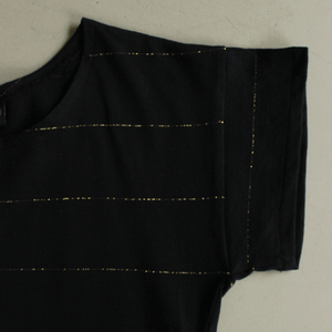 Dragstar Striped Tee - Black with Gold Lurex