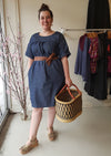 Lightweight Denim Mid Sleeve Smock Dress