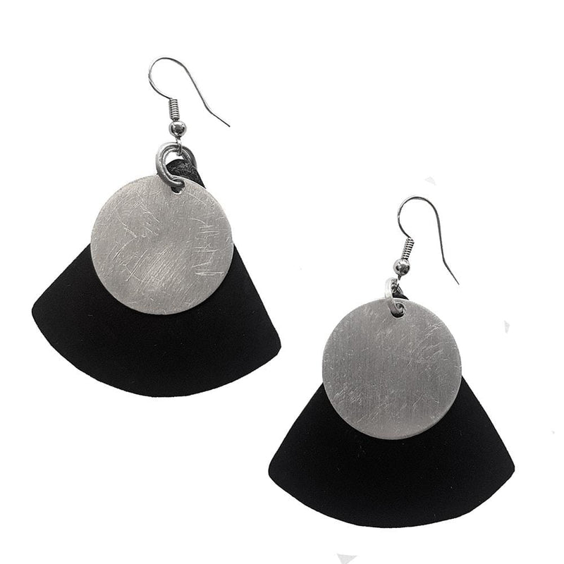 Monica Tricir Earrings Black with Silver