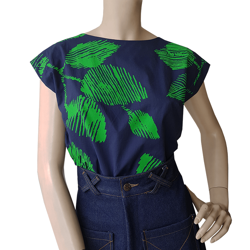 Bateau Top - Leaf Print on Navy