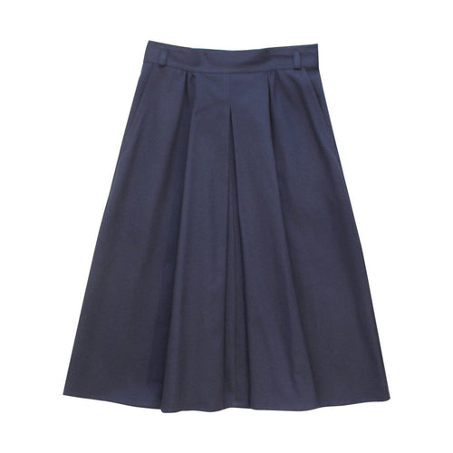 Pleat Front Skirt - Navy