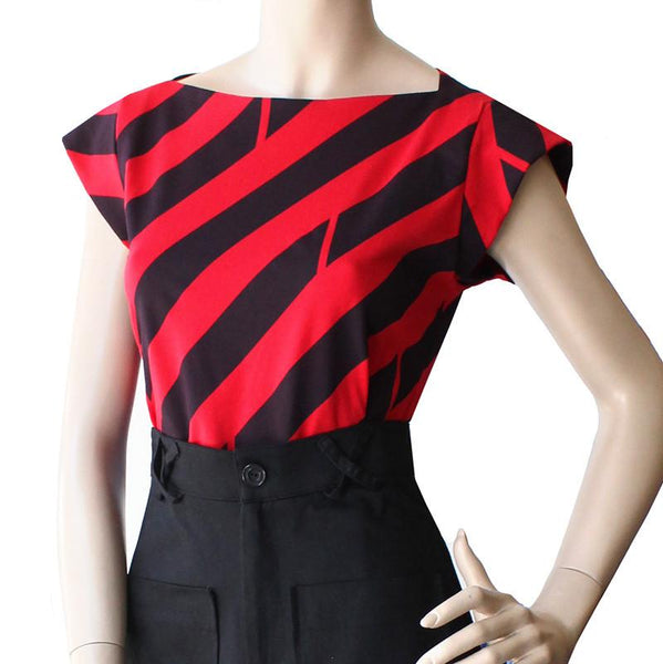 The Captain Shirt - Red and Black Diagonal Stripe