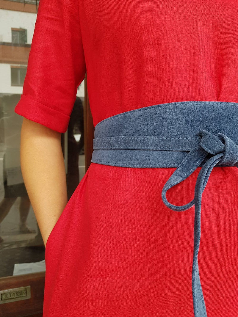 Rolled Cuff Smock Dress - Red Cotton