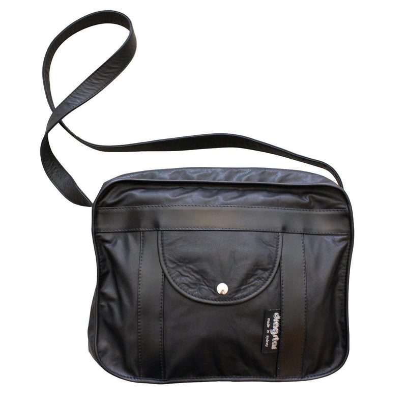 Leather Satchel Bag - Black