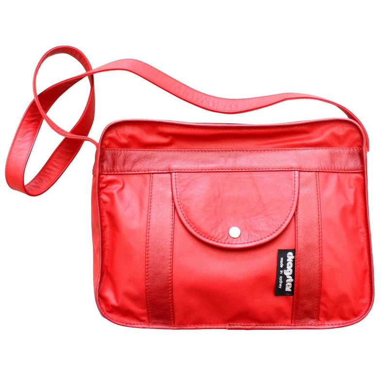 Leather Satchel Bag - Red