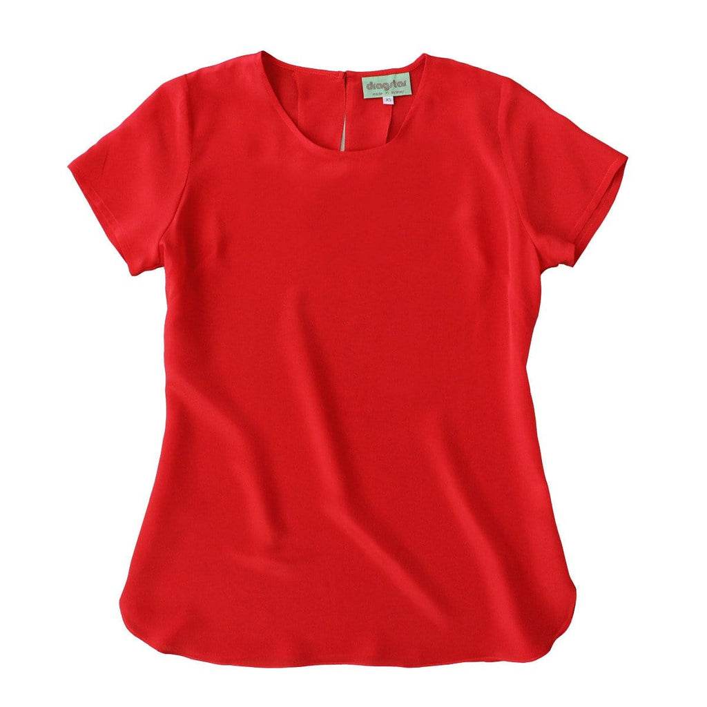 Classic Silk T-shirt Top - Red
