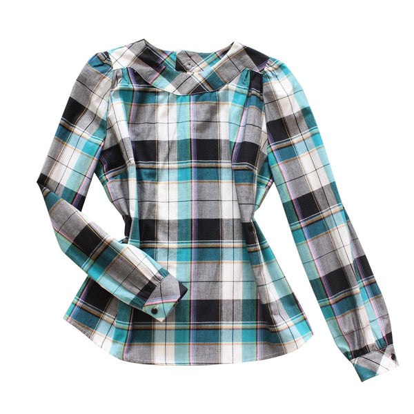 Smock Top - Teal Plaid