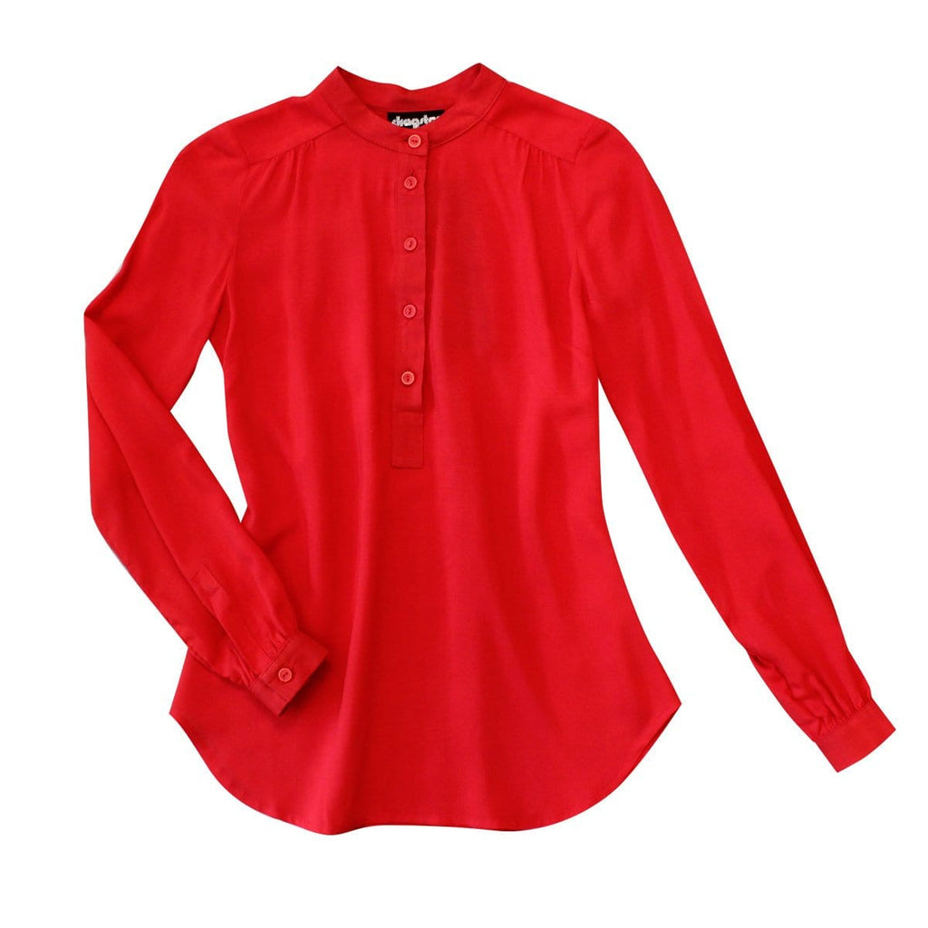 Stand Collar Shirt - Red Rayon