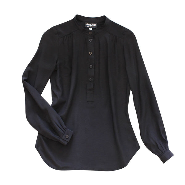 Silk Stand Collar Shirt - Crepe De Chine