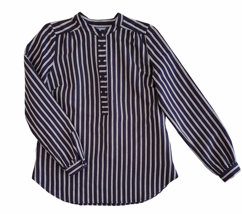 Dragstar Stand Collar Striped Shirt w/ Pockets Ethical Womens Fashion based on retro vintage workwear Slow Fashion Made in Sydney Australia