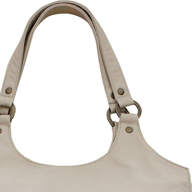 Leather Tote Bag - Beige