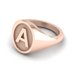 A - Alphabet Signet Ring A - Z -  9 Carat Rose Gold Signet Ring