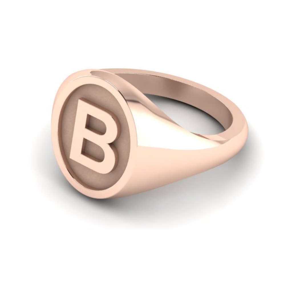 B - Alphabet Signet Ring A - Z -  9 Carat Rose Gold Signet Ring