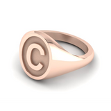 C - Alphabet Signet Ring A - Z -  9 Carat Rose Gold Signet Ring